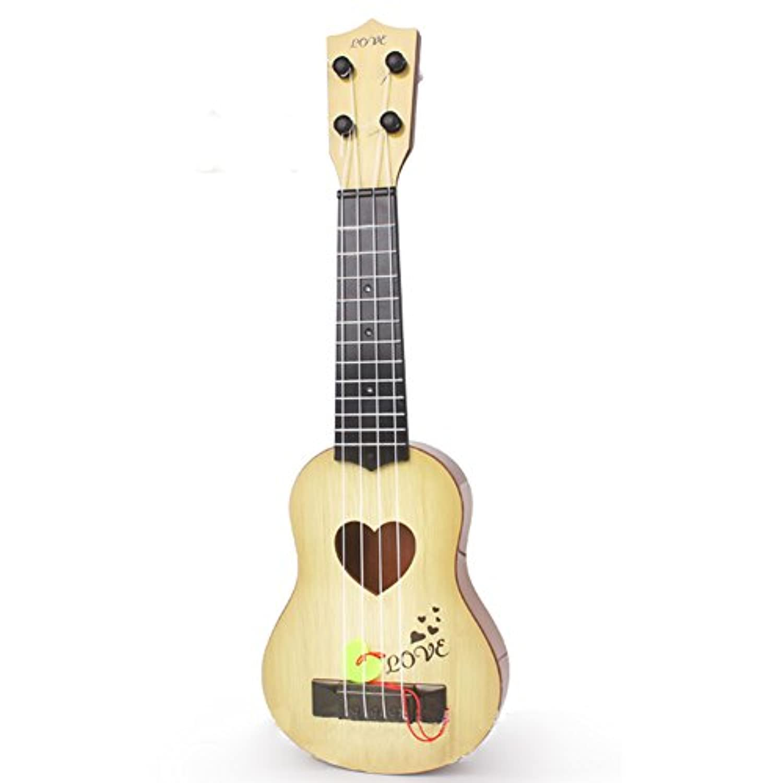 Liebeye ウクレレギター 4つの弦子供シミュレーション演奏可能な教育音楽楽器初心者のためのおもちゃのギフト ライトイエロー