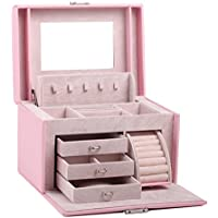 Black White Girls Jewellery Gift Box Rings Necklace Storage Organizer Lockable 44 (Pink)