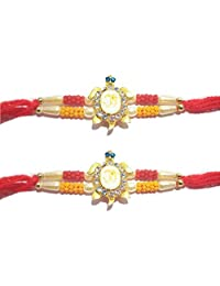 Set of 2 Rakhi for Rakshabandhan with Yellow Beads and OM Design with Stone, Multi Beads Threads and for Giving Gift to Brother, Vary Color and Multi Design