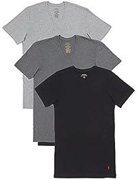 (ポロ ラルフローレン) POLO RALPH LAUREN 3枚セット 半袖 Tシャツ メンズ スリムフィット コットン Vネック グレーアソート [P646A1] [並行輸入品]