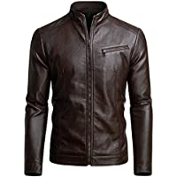 Fairylinks Men's Casual Motorcycle Faux Leather Jacket