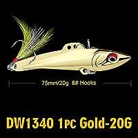 Cjxパワーアダプタ フェザー2色メタルベイト釣りと1PC鉛筆-VIB釣りルアー7センチメートル-8センチメートル/ 15グラム、20グラムベースベイト6#高炭素フックタックル (色 : 20G Gold)