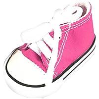 Perfk 1ペア ドールシューズ 人形 キャンバス スニーカー シューズ  靴 女の子 18インチドール用 9色選べ  - ローズレッド