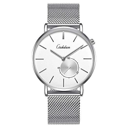 Ceshdun 腕時計 メンズ レディース クオーツ腕時計 30M防水 日本語取扱説明書 ステンレス製のブレスレット 超薄型 軽量 シルバー