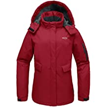 Wantdo Women's Hooded Front-Zip Windproof Waterproof Outdoor Fleece Ski Parka Jacket