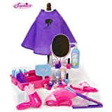 18 Inch Doll Pretend Play Hair Salon 34 Pc. Play Set by Sophia's. Combo Child & Doll Sized Complete Hair Accessory Set for Am
