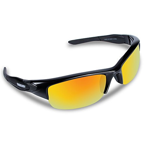 SEEKWAY スポーツサングラス 偏光レンズ TR90フレーム サイクリング ランニング ドライブ 釣り 偏光サングラス SWC089 (ブラック&レッド)