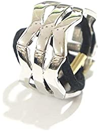 OVER RAG ヘアアクセサリー ゴム ヘアカフス クリップリング付ヘアゴム ヘアアレンジ カフ ヘアリング メタル素材デザインヘアリングヘアカフス (カラー:ギザギザシルバー)