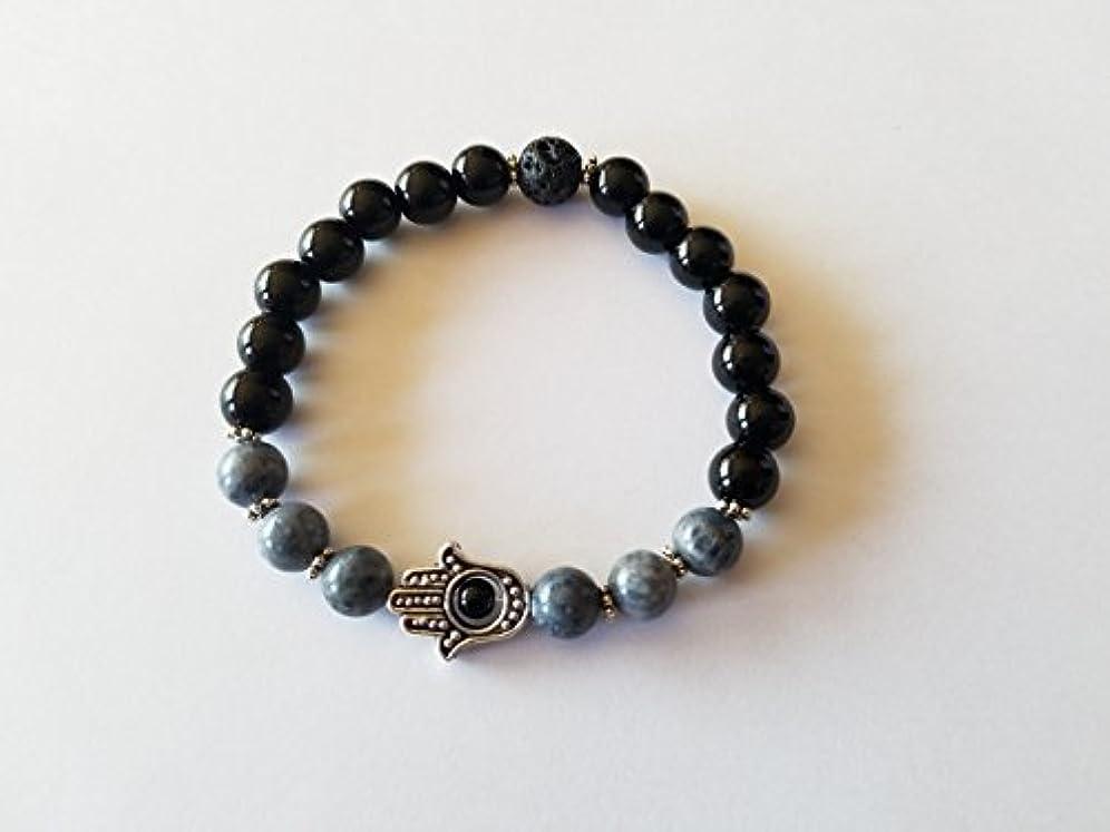 興奮思想ズームインするHandmade RARE Blue Coral Black Jasper and Black Lava Essential Oil Diffuser Bracelet featuring Hamsa Hand - 7...