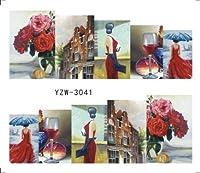 ビューティー&パーソナルケア 3個ネイルステッカーセットデカール水転写スライダーネイルアートデコレーション(YZW3002) ステッカー&デカール (色 : YZW3041)