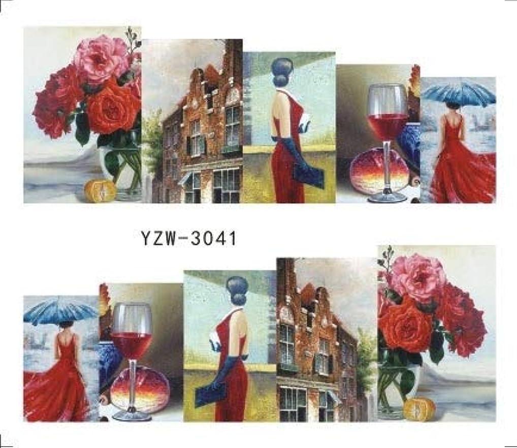 透過性観察熱意ビューティー&パーソナルケア 3個ネイルステッカーセットデカール水転写スライダーネイルアートデコレーション(YZW3002) ステッカー&デカール (色 : YZW3041)