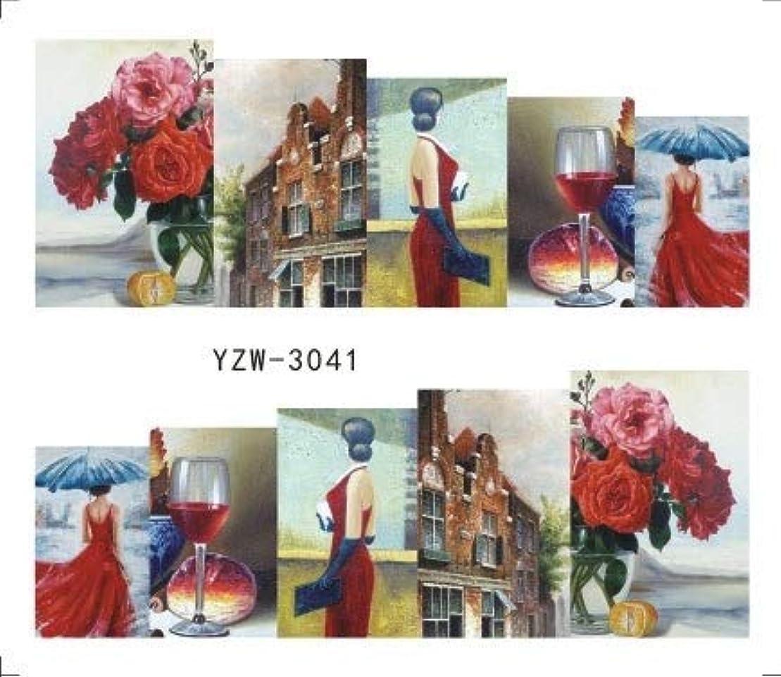 大佐日焼けリーフレットビューティー&パーソナルケア 3個ネイルステッカーセットデカール水転写スライダーネイルアートデコレーション(YZW3002) ステッカー&デカール (色 : YZW3041)