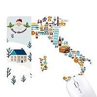 地図イタリア国旗のカスタムメイドの風景 サンタクロース家屋ゴムのマウスパッド