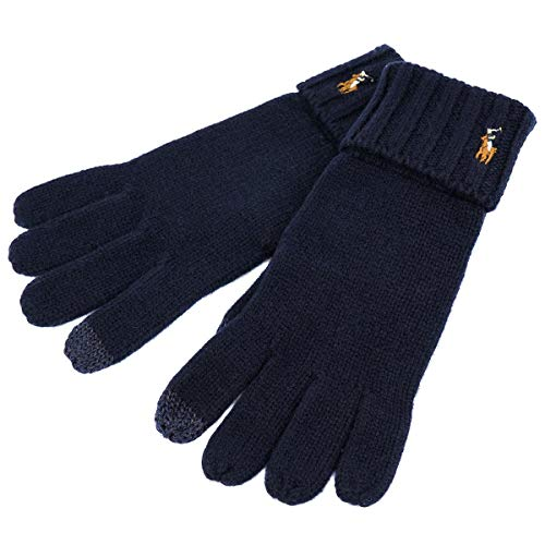 [ポロ ラルフローレン]polo Ralph Lauren 手袋 PC0494 Signature Merino Touch Gloves W/Leather Patch 男女兼用 433 Hunter Navy [並行輸入品]
