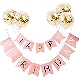 F Fityle 誕生日 ガーランド 飾り付け パーティー風船 セット バナー 飾り バルーン - ピンク