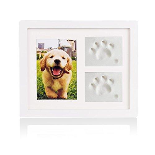 Petacc 犬用メモリアル用品 写真立て フォトスタンド 手形 足形 メモリアルグッズ (ホワイト)