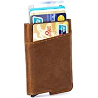 RFID Minimalist Aluminum Wallet Automatic - Slim Money Clip Credit Card Holder Genuine Leather Wrapped Pop Out
