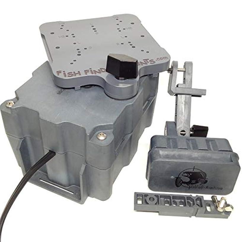 ベッド探検委任する魚探用マウントフルセットキット 5ahバッテリーボックス 4.5インチプラットフォーム マグネットトランスデューサー マウントキット 振動子
