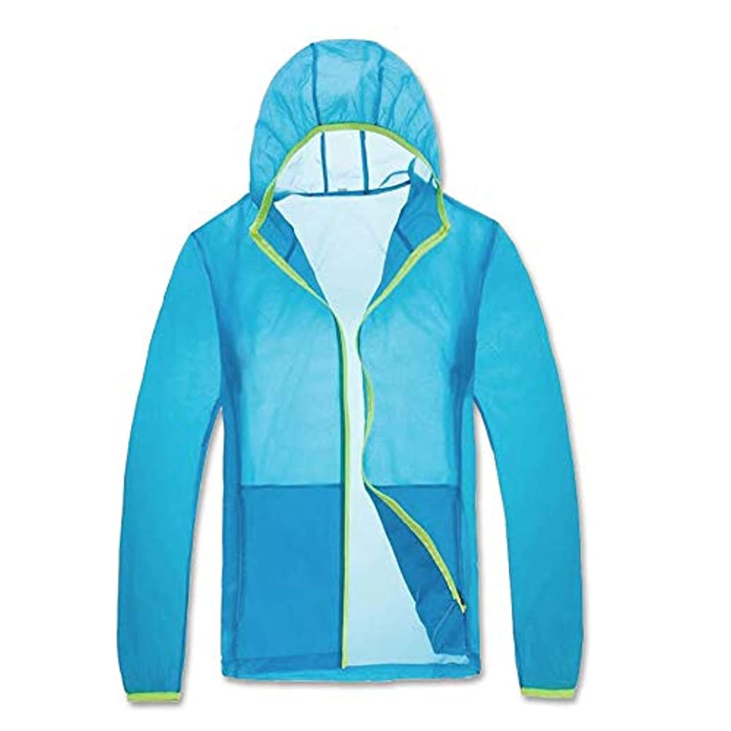 デッドロック遺伝子クーポン夏のエアコン衣類ファン冷却衣服冷却ジャケット日焼け止め防蚊防水ジャケットスキンコート,Blue,L