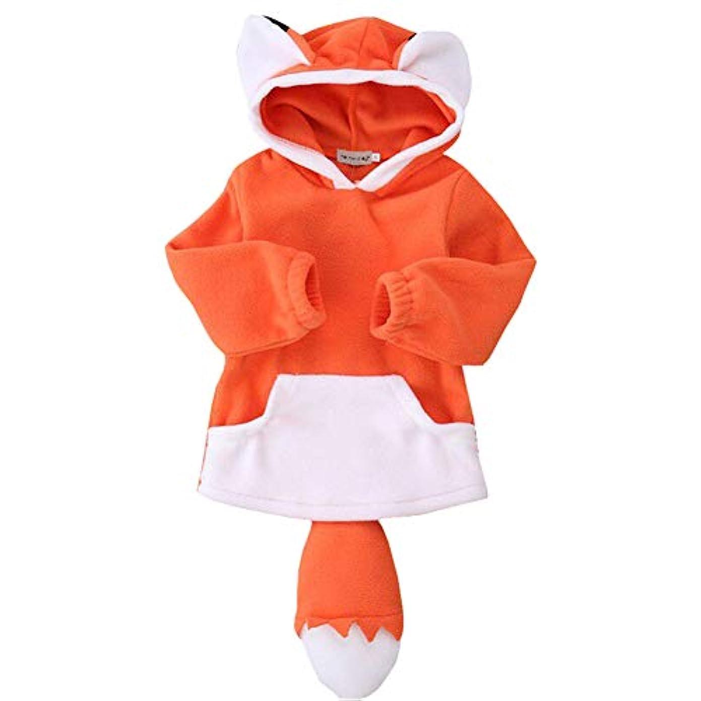 料理ドリンクコピーFairy Baby きつね着ぐるみ ベビーハロウィン仮装 子供衣装 可愛いテールつき ふわふわ コスチューム size 90 (オレンジ)