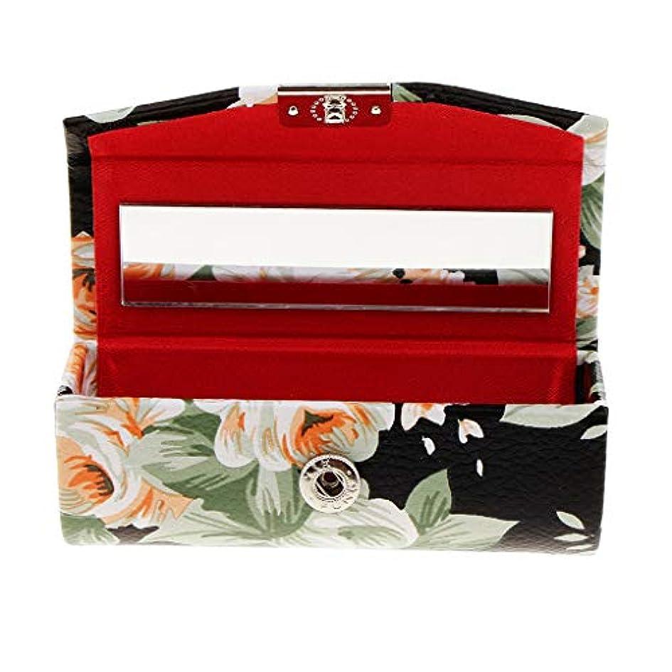 ラッシュリアル法律Fenteer 口紅ケース リップスティック ミラー付き メイクアップ  収納ホルダー  5色選べ - ブラック