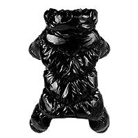 FidgetGear 防水犬服冬暖かい居心地の良い子犬ジャンプスーツジャケットコート衣装XS-XL ブラック