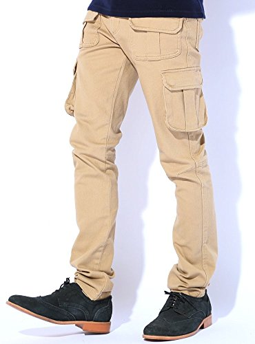 3カラー スキニー カーゴパンツ メンズ ブラック カーキ ベージュ S M L XL ベストマート