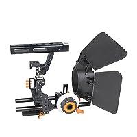 RaiFu カメラケージ アルミ合金 ビデオ スタビライザー ビデオケージキット マットボックス付き ソニーA7/A7II/A7r/A7s II ブラック+オレンジ
