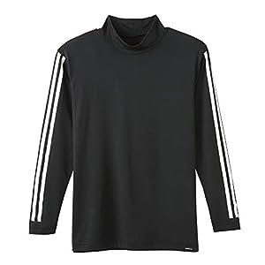 [アディダス ネオ]Tシャツ 3ストライプ ロング ハイネック メンズ ブラック 日本 L (日本サイズL相当)