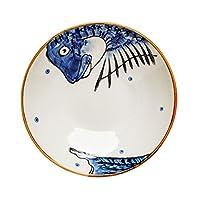 プレートキッチン盛盛セラミック料理、ホームフルーツプレートサラダプレート、レストランスーププレート深皿の丸い料理 (Color : Blue, Size : 20.5*20.5*4.5cm)