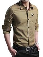 Keaac Men Dress Shirt Long Sleeve Shirt Regular Fit Button Down Shirt Khaki L