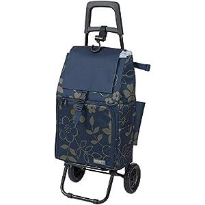 COCORO(ココロ) ショッピングカート 折りたたみ (保冷保温機能) キャリー 軽量 バッグ2層式 フラワー ネイビー 453193 NV