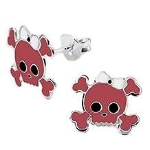 Pink Skull Earrings, Monster, Halloween, 925 Stering Silver, Crossbones (E14181)