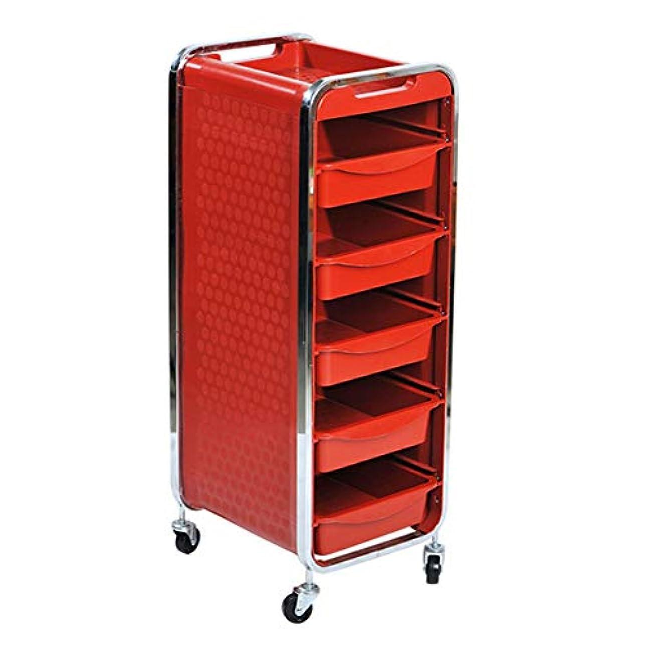 裕福な空港不愉快エステサロントロリーサロン多機能引き出しヘアカラーカー6層黒,Red