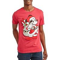 Retro Wear Disney Men's Mickey Mouse Santa Claus Christmas Holiday Tee T-Shirt
