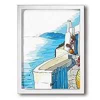 魅力的な芸術 30x40cm Greece Summer Island Landscape. Santorini キャンバスの壁アート 画像プリント絵画リビングルームの壁の装飾と家の装飾のための現代アートワークハングする準備ができて