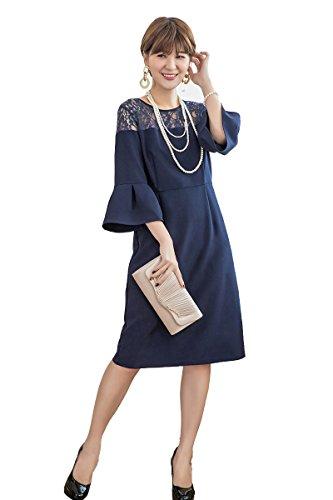 4677a2b95fc9b ACUX(エックス) 結婚式 ドレス 袖あり 秋冬 レース パーティードレス フォーマル ワンピース フレア