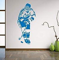 Ansyny 壁デカールビニールステッカーホッケースポーツ選手ゲームチーム男の子子供子供ルームホッケークラブ家の装飾壁画アート25 * 57センチ