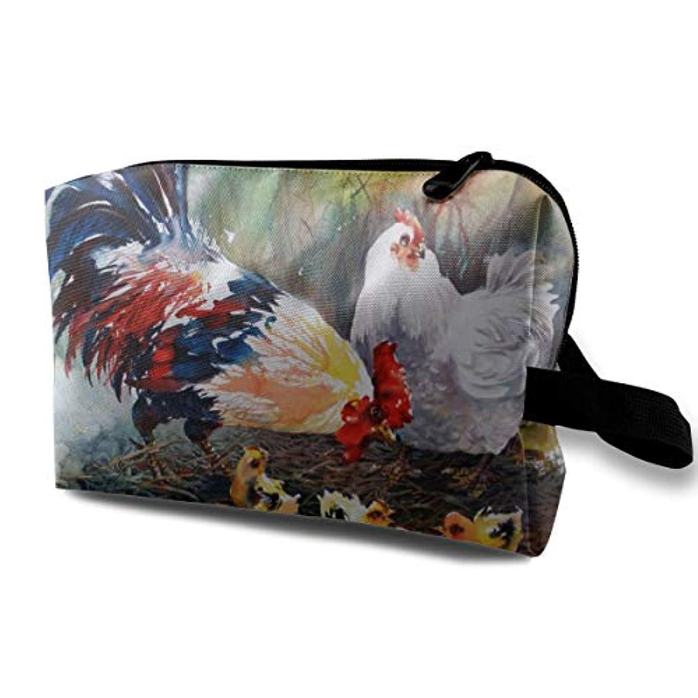 冷えるくつろぐ少しWatercolor Art Chicken Family Paintings 収納ポーチ 化粧ポーチ 大容量 軽量 耐久性 ハンドル付持ち運び便利。入れ 自宅?出張?旅行?アウトドア撮影などに対応。メンズ レディース トラベルグッズ