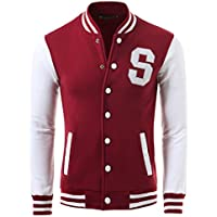 uxcell Allegra K Men Long Sleeves Button Front Letters Varsity Jacket