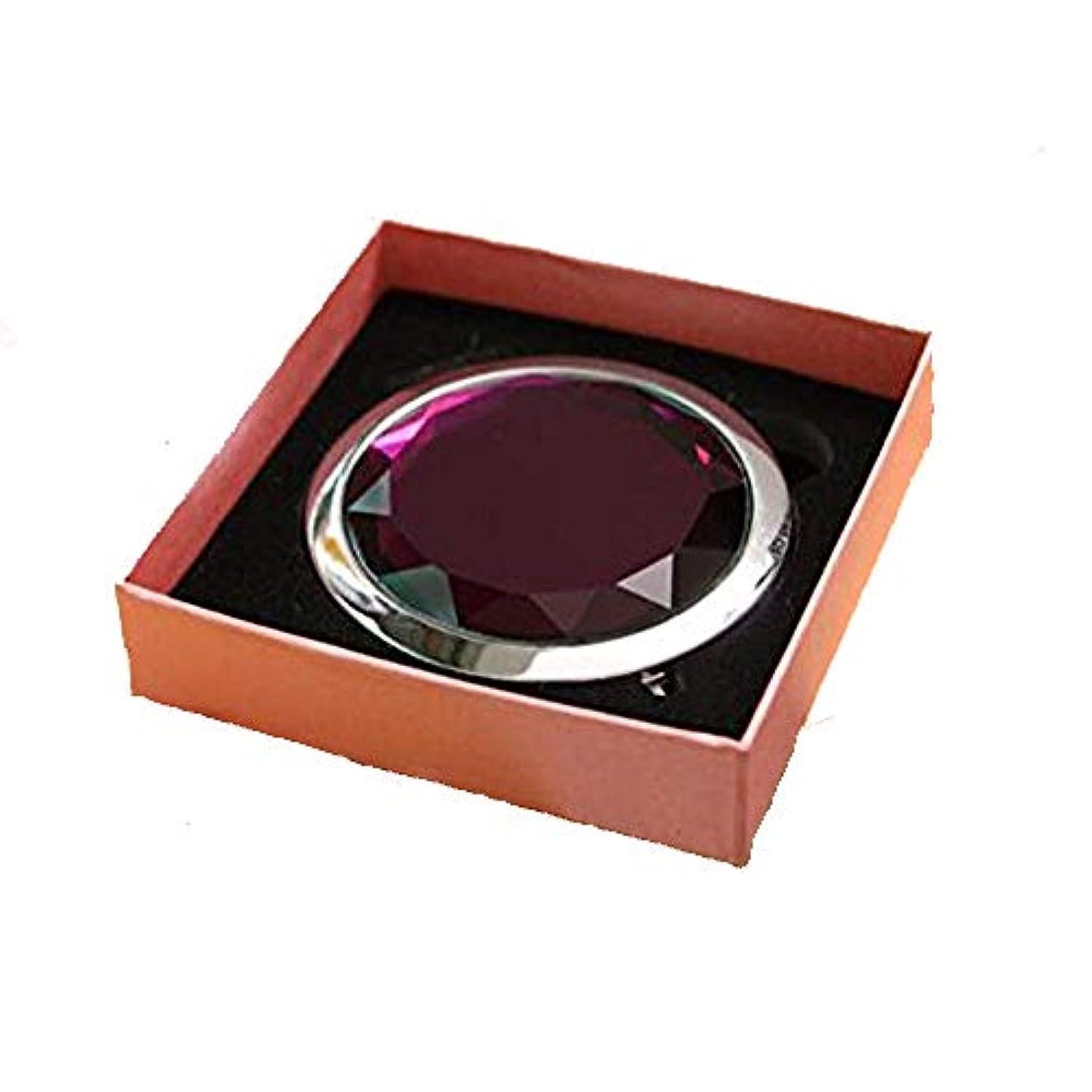 マネージャー肌寒い出しますHJ 両面 コンパクトミラー 折りたたみ 手鏡 拡大鏡付きメタル デコラティブ 携帯ミラー ハンドミラー (紫)