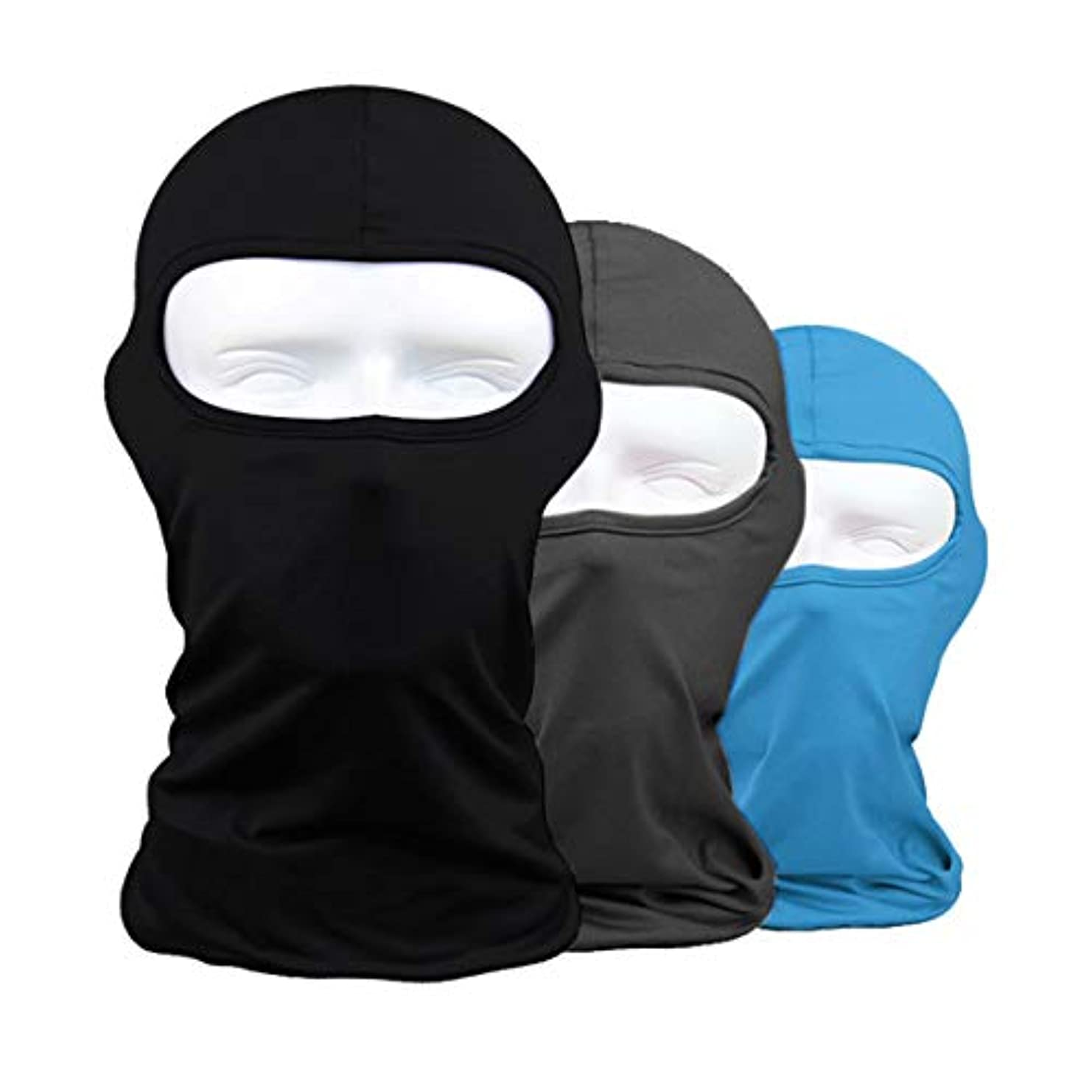 禁止するトリップ変換するフェイスマスク 通気 速乾 ヘッドウェア ライクラ生地 目だし帽 バラクラバ 保温 UVカット,ブラック + グレー + ブルー,3枚