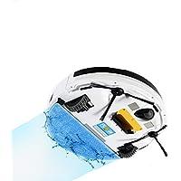 ロボット真空オートホームクリーニング強力な吸引タングルフリー7.5cmスリムデザインロボット真空絨毯、ハードフロア、ホワイト