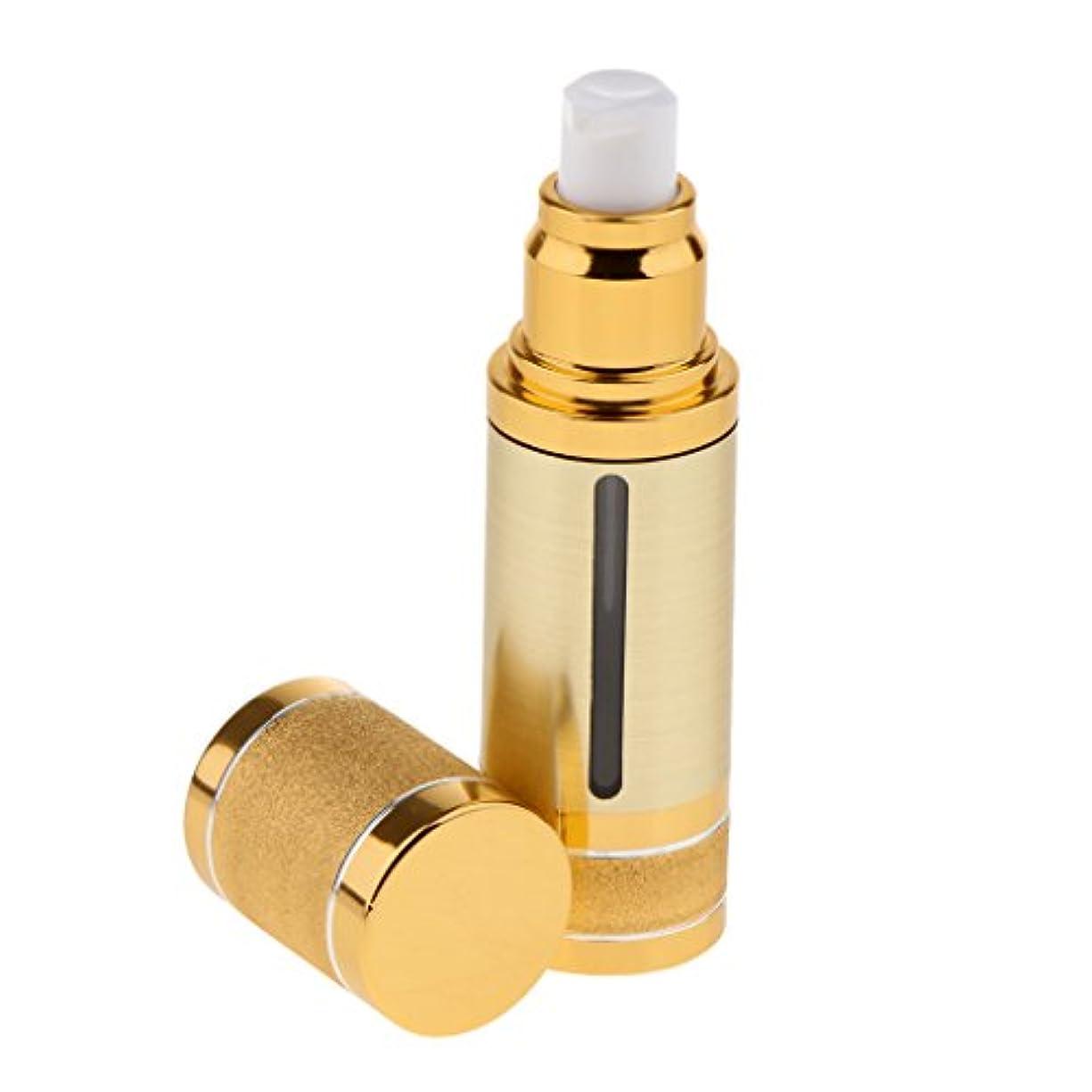 回転する制限一回ポンプボトル 空ボトル エアレスボトル 30ml ローション クリーム 化粧品 詰め替え 容器 DIY 2色選べる - ゴールド