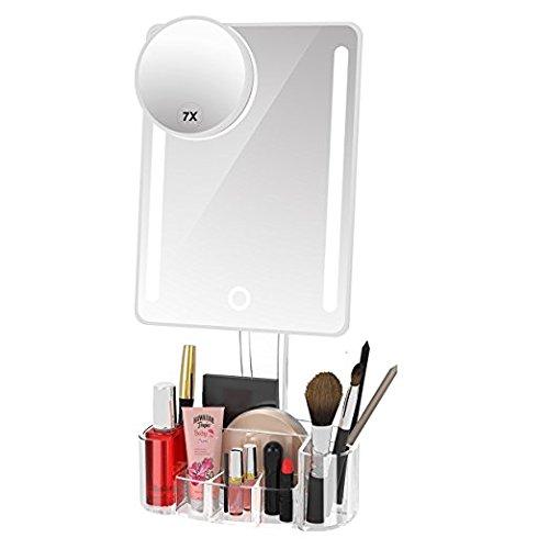 AYO 化粧鏡 女優ミラー 鏡 卓上 LEDライト付きミラー 7倍拡大鏡 化粧品収納ボックス 明るさ調節可能 90度回転 USB/単三電池給電 ホワイト