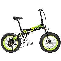X2000 20インチファットバイク折りたたみ自転車7スピードスノーバイク48V 12.8Ah 500Wモーターアルミ合金フレーム5 PASマウンテンバイク駆動補助機付自転車 (ブラックグリーン, 12.8Ah)