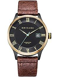 BRIGADA 高級 時計 メンズ ブランド 人気、ブラウン ファッション 上品 腕時計 メンズ ブランド 人気、自分用もしくは親戚お友達恋人へ贈る メンズ 時計 [並行輸入品]