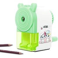漫画の子供の鉛筆削り、Junnom ABS鉛筆削り、子供の手クランクデスクトップ漫画鉛筆機、卓上削り、学習文房具 オフィス用品 6-8mm (色:緑)