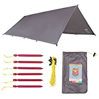 Paria Outdoor Products Sanctuary SilTarp - Ultralight and Waterproof Ripstop Silnylon Rain Shelter Tarp, Guy Line and Stake Kit - Perfect for Hammocks, Camping and Backpacking (並行輸入品)