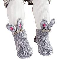 11ef52fd63a22 Ainial ソックス ベビー 女の子 コーラルフリース もこもこ 柔らかい 靴下 キッズ ガールズ 可愛い ウサギの耳付き